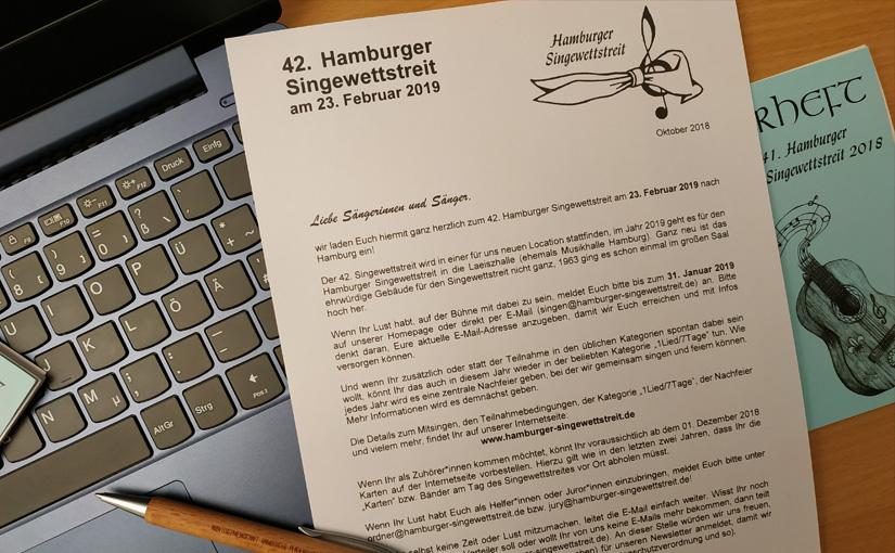 Einladung zum 42. Hamburger Singewettstreit wurde versendet